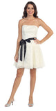 Poofy Short Lace Ivory Semi Formal Dress Ribbon Belt Strapless