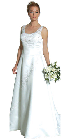 White Wedding Dress With Beaded Mesh Straps Black Ivory Wedding Gown