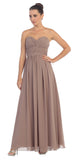 Popular Chiffon Strapless Mocha Beach Wedding Bridesmaid Dress