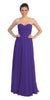Popular Chiffon Strapless Purple Beach Wedding Bridesmaid Dress