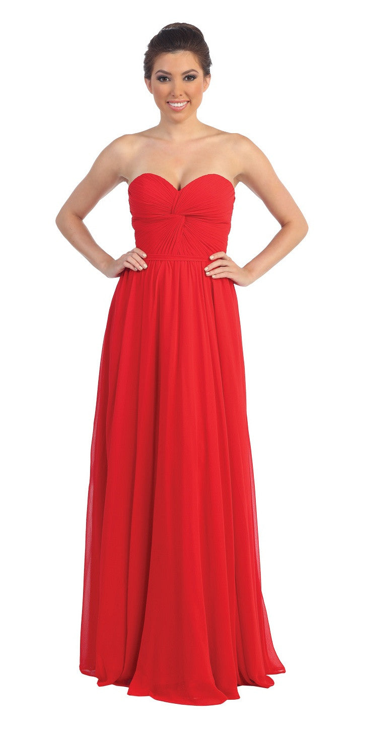 Popular Chiffon Strapless Red Beach Wedding Bridesmaid Dress
