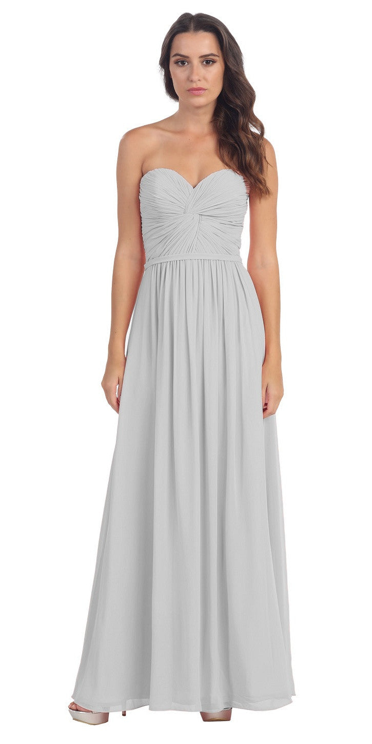 Popular Chiffon Strapless Silver Beach Wedding Bridesmaid Dress
