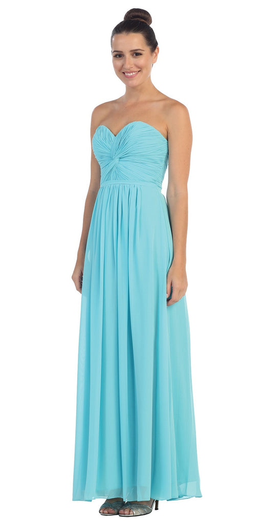 Popular Chiffon Strapless Tiffany Blue Beach Wedding Bridesmaid Dress