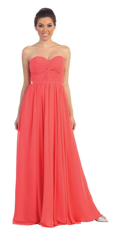 Popular Chiffon Strapless Coral Beach Wedding Bridesmaid Dress
