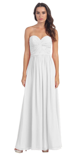 Popular Chiffon Strapless Off White Beach Wedding Bridesmaid Dress