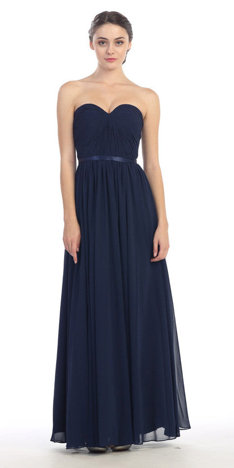 Belted Waist Ruched Long A Line Navy Blue Formal Dress