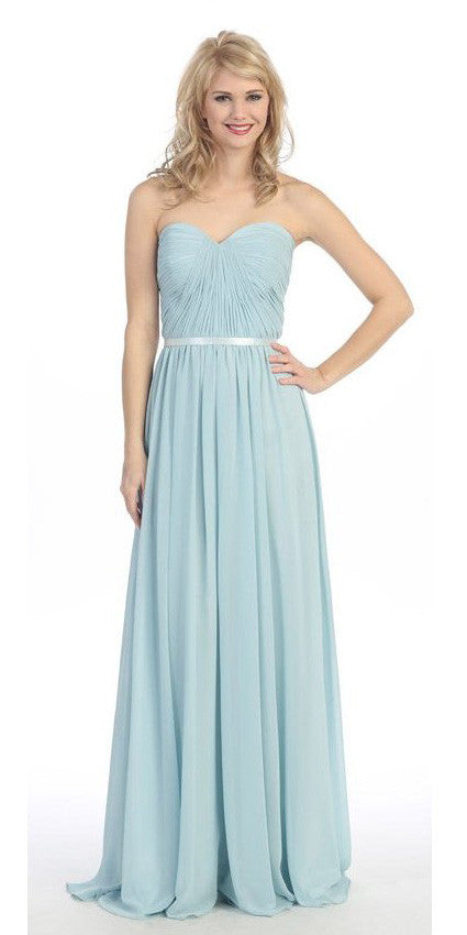 Belted Waist Ruched Long A Line Baby Blue Formal Dress