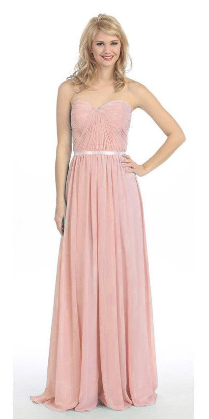 Belted Waist Ruched Long A Line Dusty Pink Formal Dress