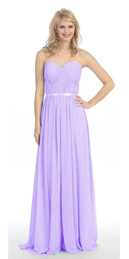 Belted Waist Ruched Long A Line Lilac Formal Dress