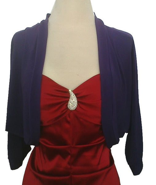 Mid Length Purple Bolero Jacket Stretch Shrug Bridal Wedding Jacket