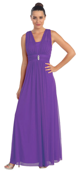 Purple Long Semi Formal Dress Wide Shoulder Straps Chiffon