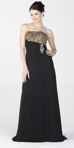 ON SPECIAL LIMITED STOCK - Black Gala Dinner Party Gown Gold Beads Strapless Bolero Jacket