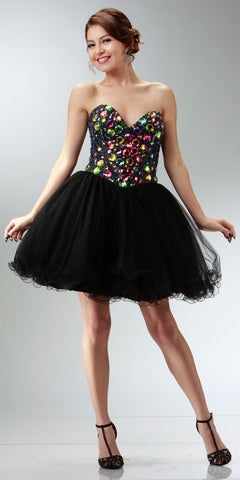 ON SPECIAL LIMITED STOCK - Black Pixie Prom Dress Strapless Sweetheart Neck Poofy Skirt