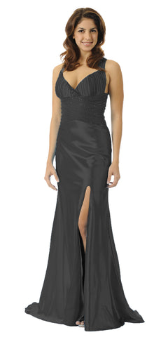 ON SPECIAL LIMITED STOCK - Long Black Prom Dress Open Slit Formal