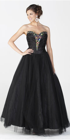 ON SPECIAL LIMITED STOCK - Long Puffy Black Dress Satin Mesh Formal Jeweled Strapless Sweet