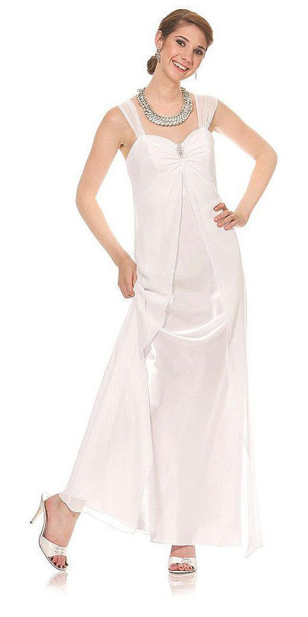 Ivory Semi Formal Dress Long Chiffon Overlay Wide Straps
