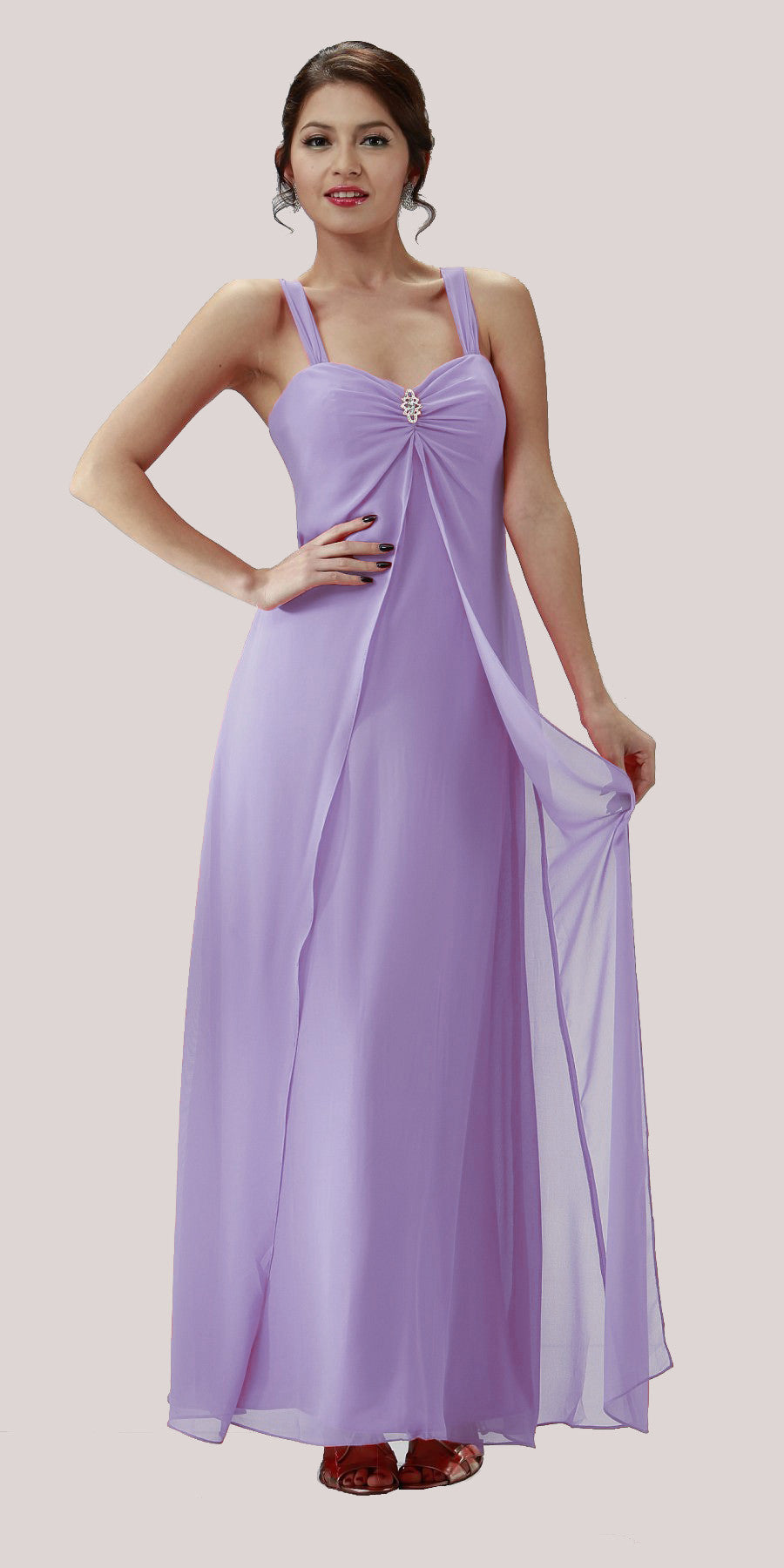 Lilac Semi Formal Dress Long Chiffon Overlay Wide Straps