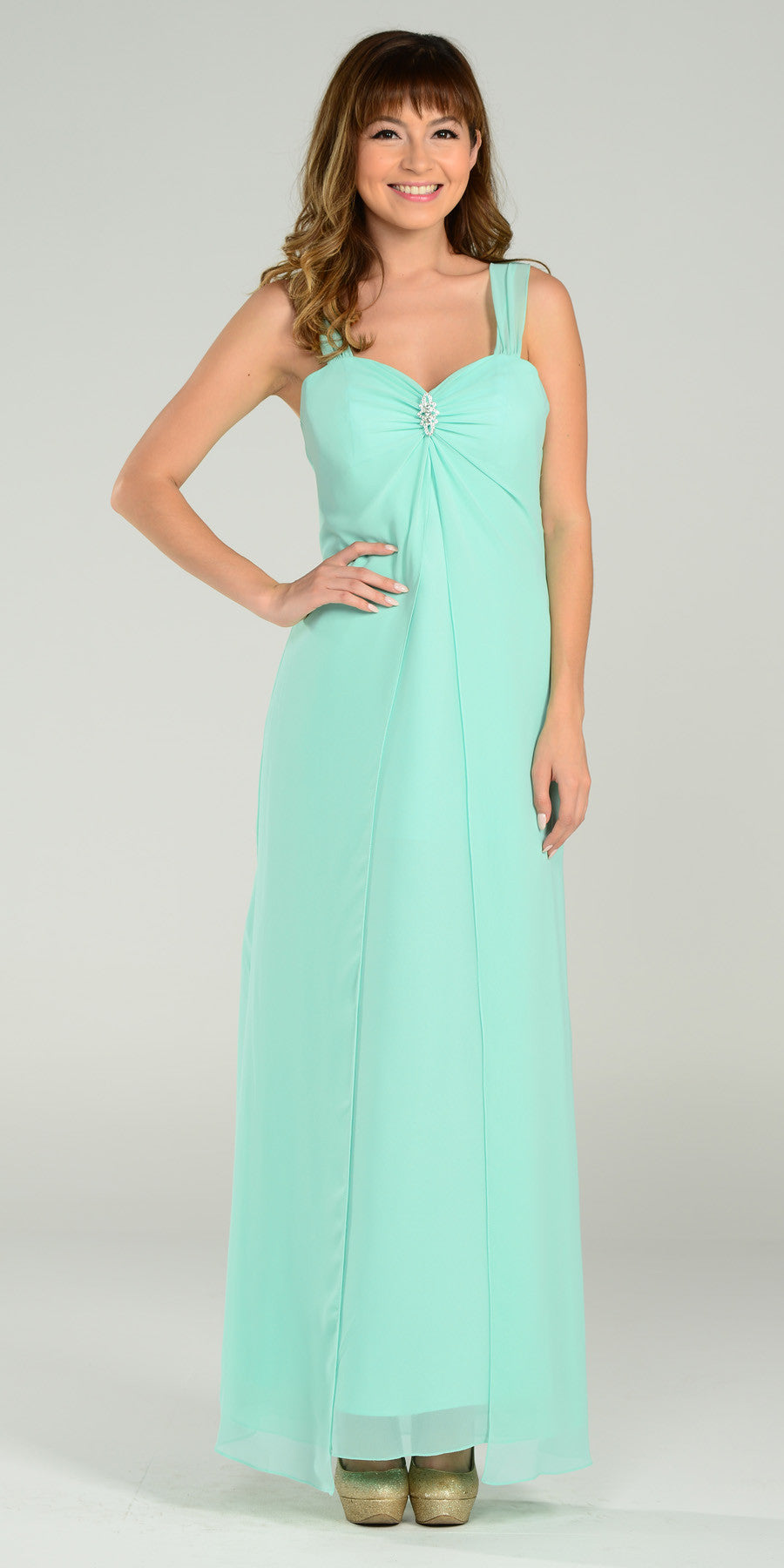 Mint Semi Formal Dress Long Chiffon Overlay Wide Straps