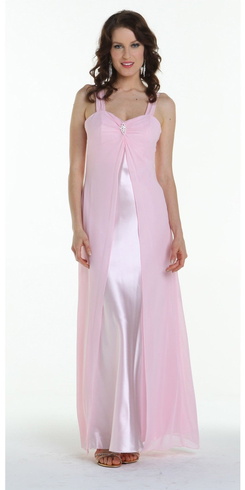 Pink Semi Formal Dress Long Chiffon Overlay Wide Straps