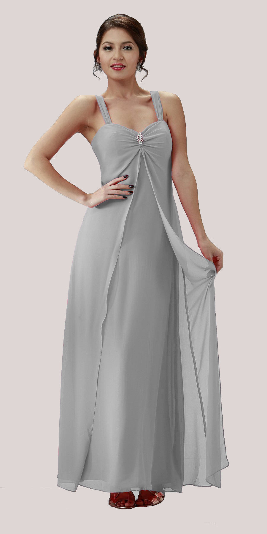 Silver Semi Formal Dress Long Chiffon Overlay Wide Straps