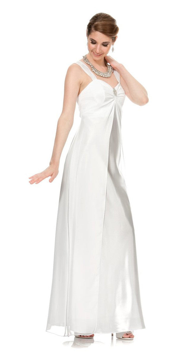 White Semi Formal Dress Long Chiffon Overlay Wide Straps