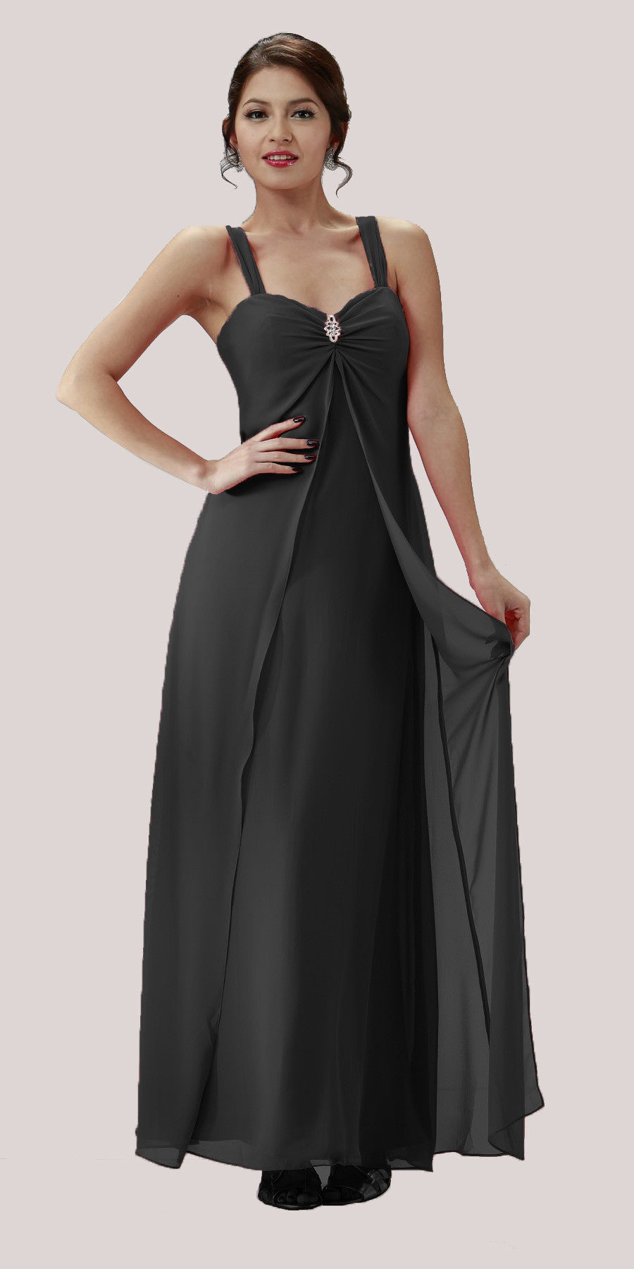 Black Semi Formal Dress Long Chiffon Overlay Wide Straps