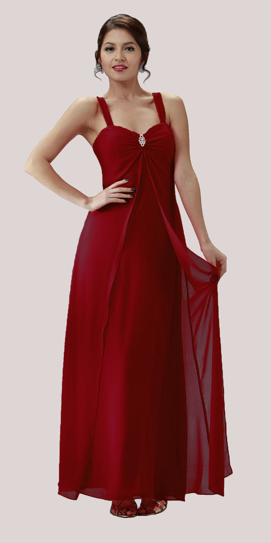 Burgundy Semi Formal Dress Long Chiffon Overlay Wide Straps