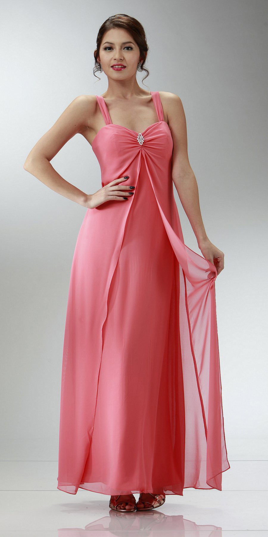 Coral Semi Formal Dress Long Chiffon Overlay Wide Straps
