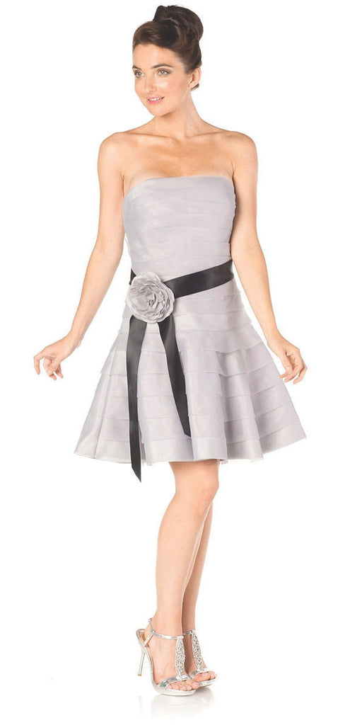 ON SPECIAL LIMITED STOCK - Silver Short Bridesmaid Dress Pleated Strapless Rose Waist Black Ribbon