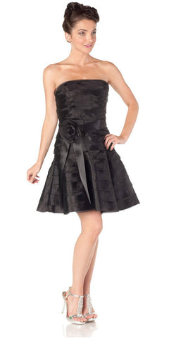 ON SPECIAL LIMITED STOCK - Black Short Bridesmaid Dress Pleated Strapless Rose Waist Black Ribbon