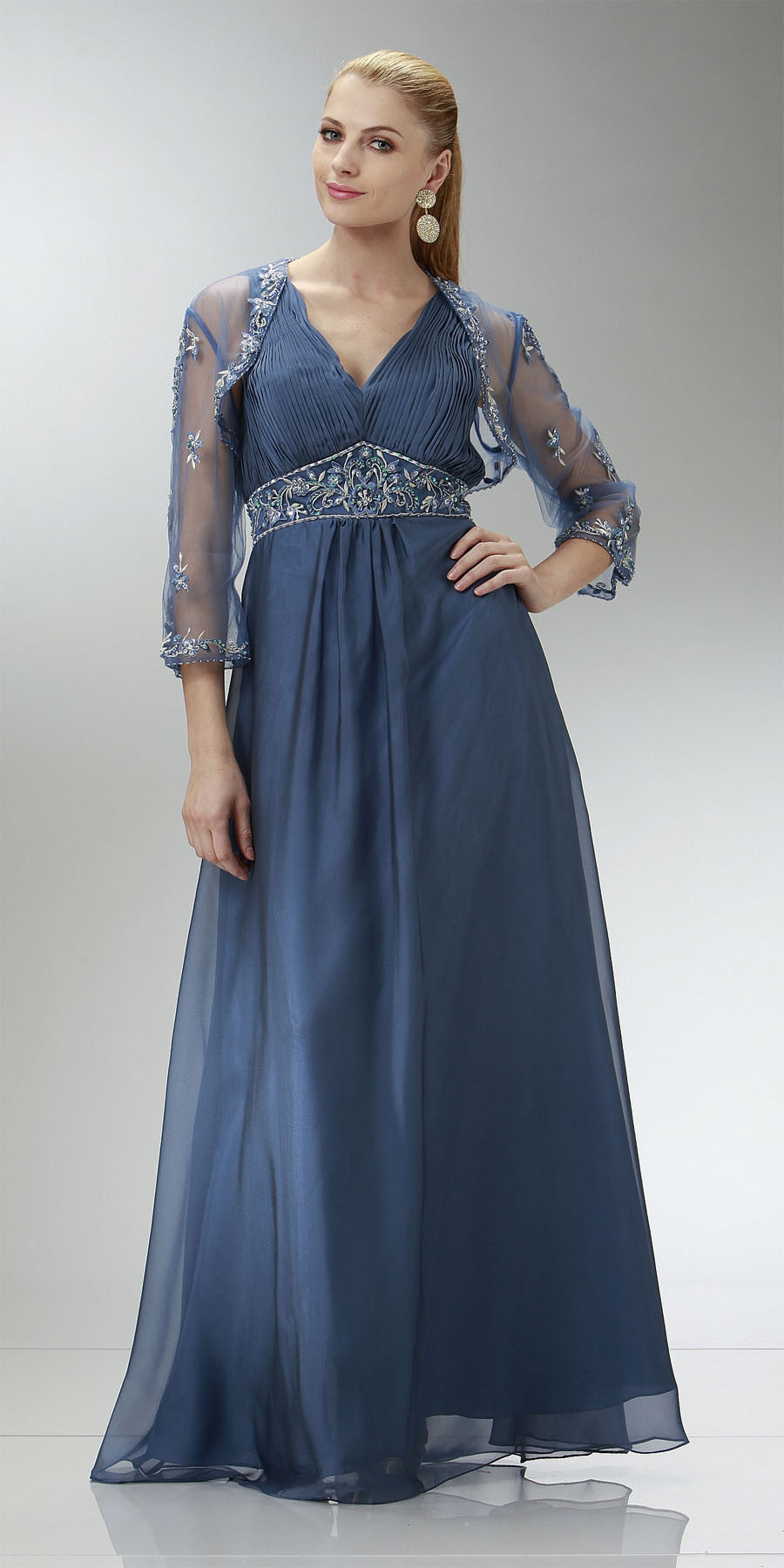 ON SPECIAL LIMITED STOCK -  Blue Grey Mother of Groom Dress Wedding Formal Empire Chiffon Bolero