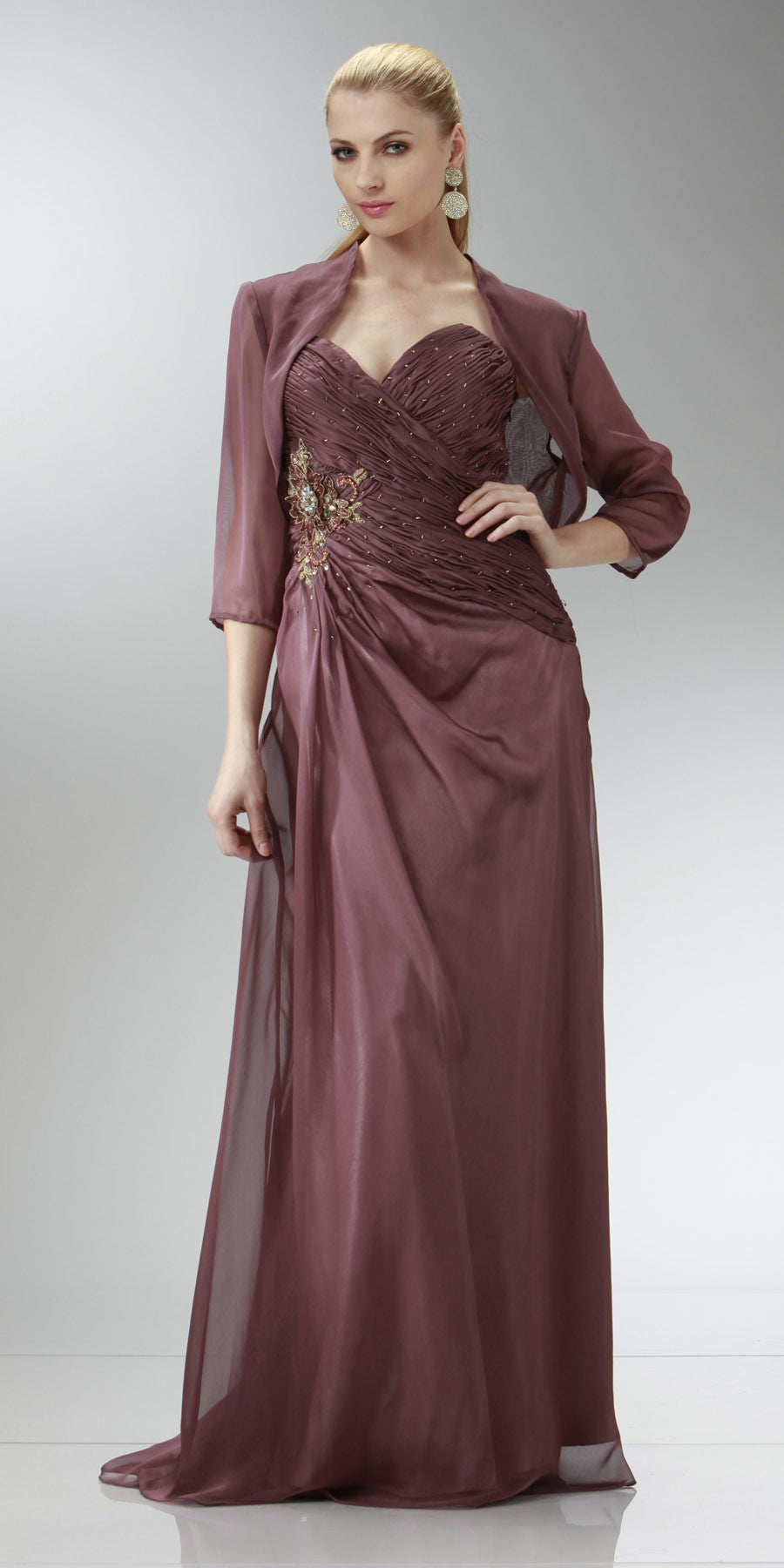 ON SPECIAL LIMITED STOCK - Rosewood Full Length Evening Dress Strapless Sweetheart Ruched Gown