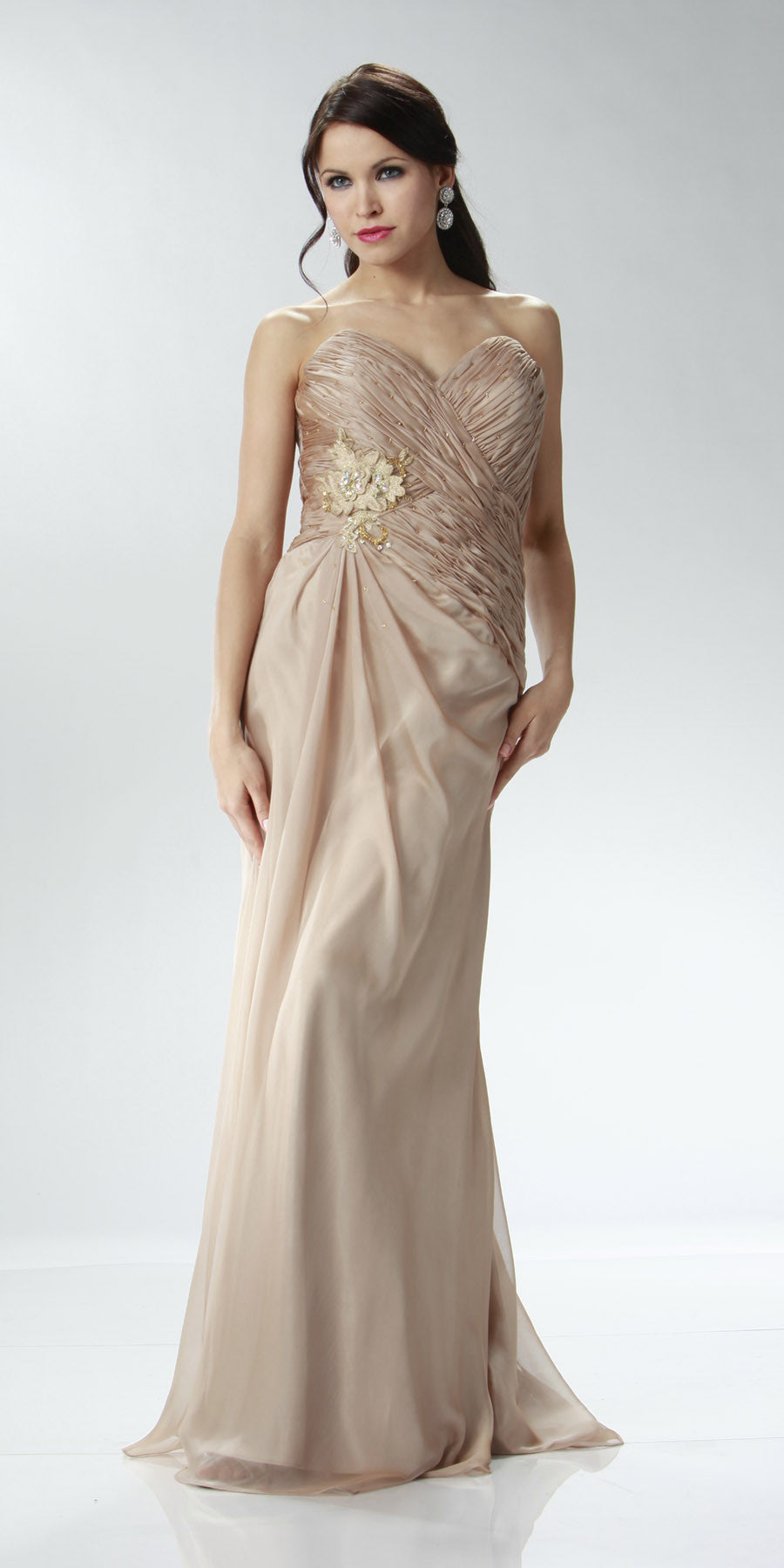 ON SPECIAL LIMITED STOCK - Champagne Full Length Evening Dress Strapless Sweetheart Ruched Gown