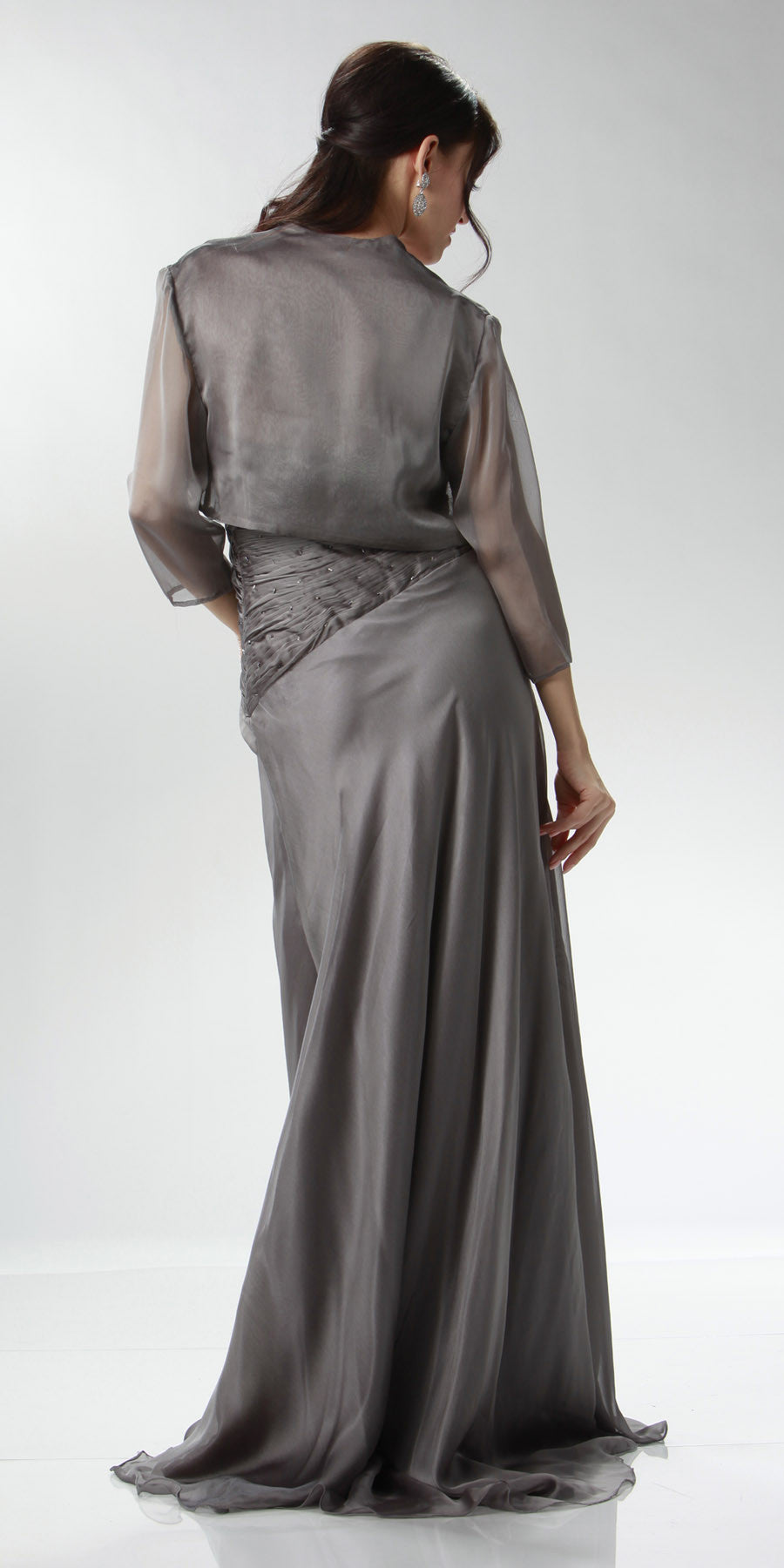 ON SPECIAL LIMITED STOCK - Silver Full Length Evening Dress Strapless Sweetheart Ruched Gown
