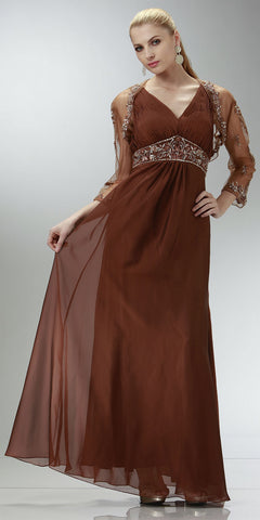 ON SPECIAL LIMITED STOCK -  Brown Mother of Groom Dress Wedding Formal Empire Chiffon Bolero