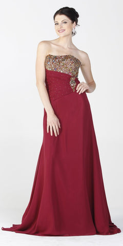 ON SPECIAL LIMITED STOCK - Burgundy Gala Dinner Party Gown Gold Beads Strapless Bolero Jacket