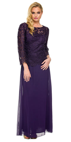 Plum Mother of Bride Gown Plus Size Mid Lace Sleeves