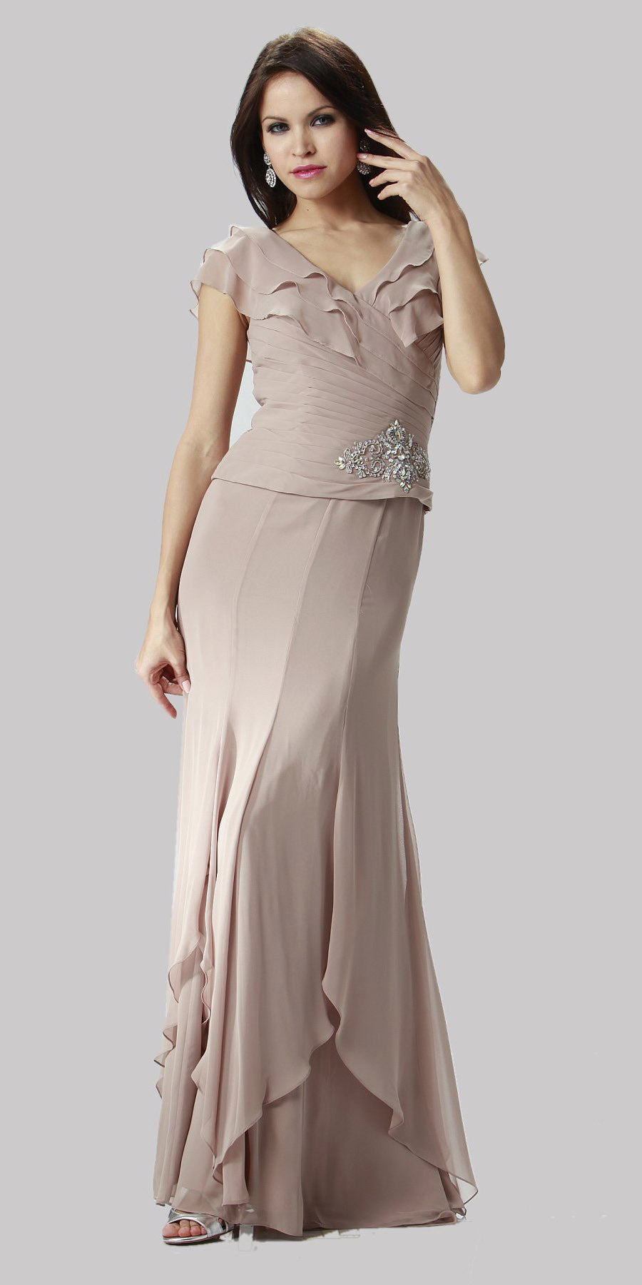 ON SPECIAL LIMITED STOCK - Short Cap Mocha Long Chiffon Mother of Bride Dress V-Neckline Layered