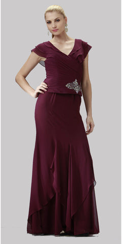 ON SPECIAL LIMITED STOCK - Cap Sleeve Plus Size Plum Mother of Bride Dress Chiffon V Neck