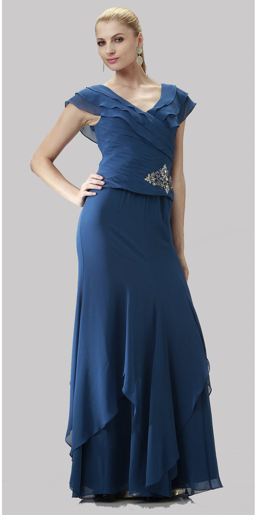 ON SPECIAL LIMITED STOCK - Short Cap Navy Blue Long Chiffon Mother of Bride Dress V-Neckline Layered