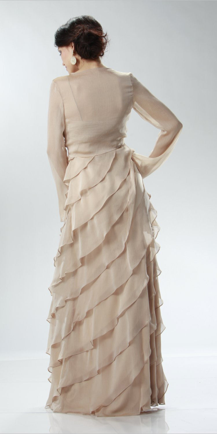 ON SPECIAL LIMITED STOCK - Champagne Mother of Bride Dress Layered Skirt