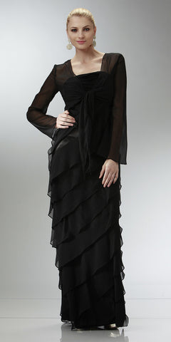 ON SPECIAL LIMITED STOCK - Black Mother of Bride Dress Layered Skirt