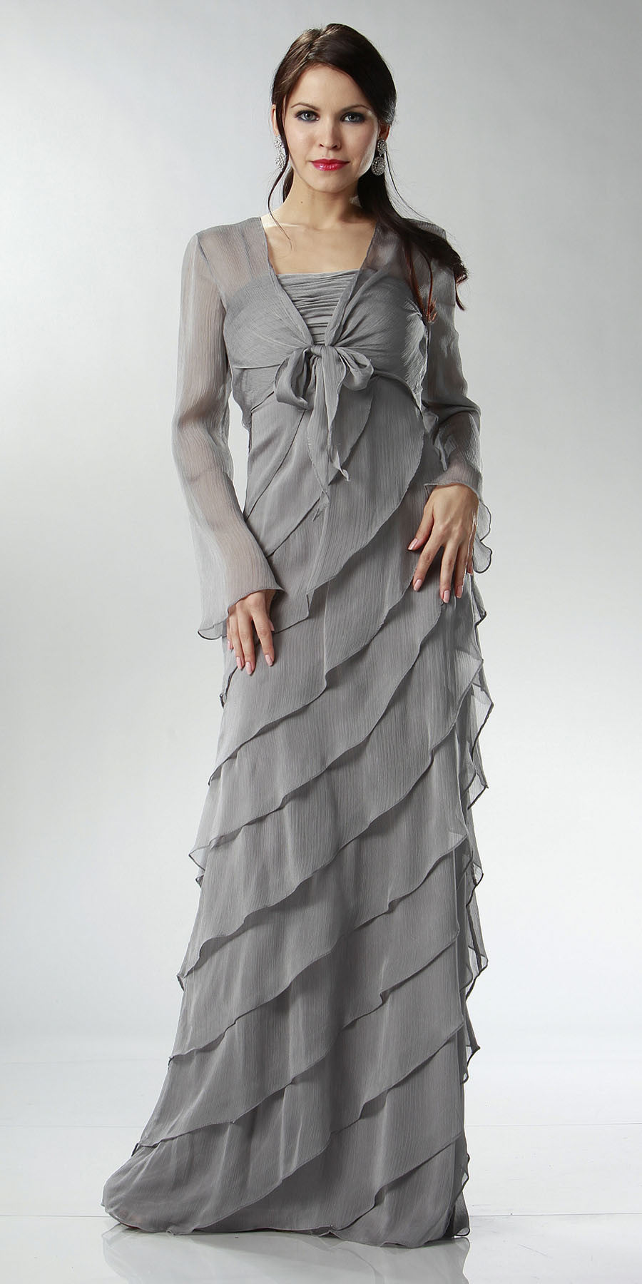 ON SPECIAL LIMITED STOCK - Silver Mother of Bride Dress Layered Skirt