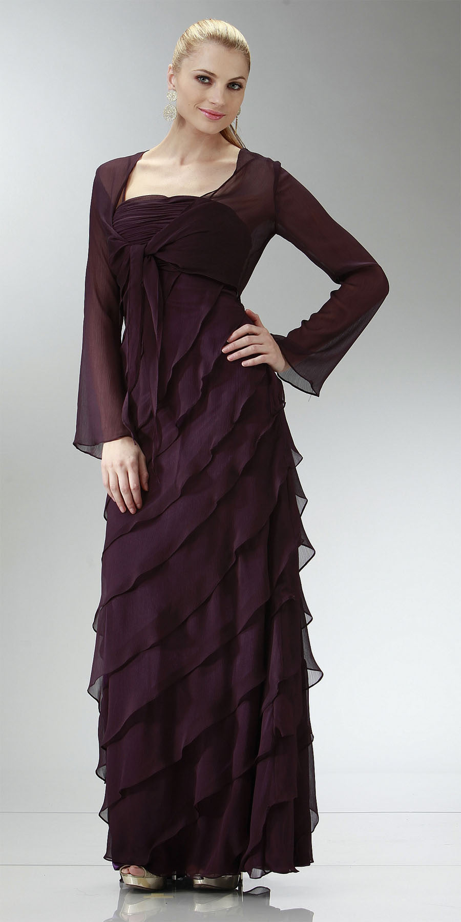 ON SPECIAL LIMITED STOCK - Plum Mother of Bride Dress Layered Skirt