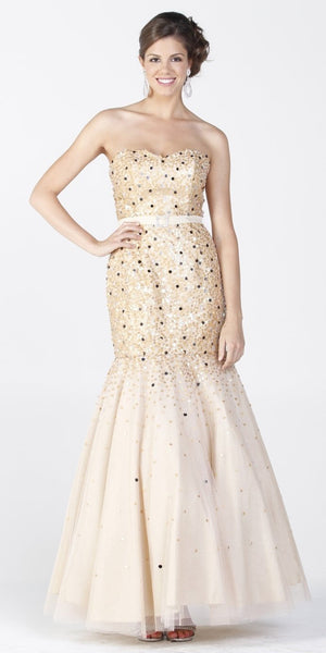ON SPECIAL LIMITED STOCK - champagne Trumpet Gown Mesh Long Strapless Large Sequins Mermaid Skirt