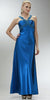 ON SPECIAL LIMITED STOCK - Cheap Blue Sapphire Prom Dress Full Length Satin Gown Applique Cross Straps