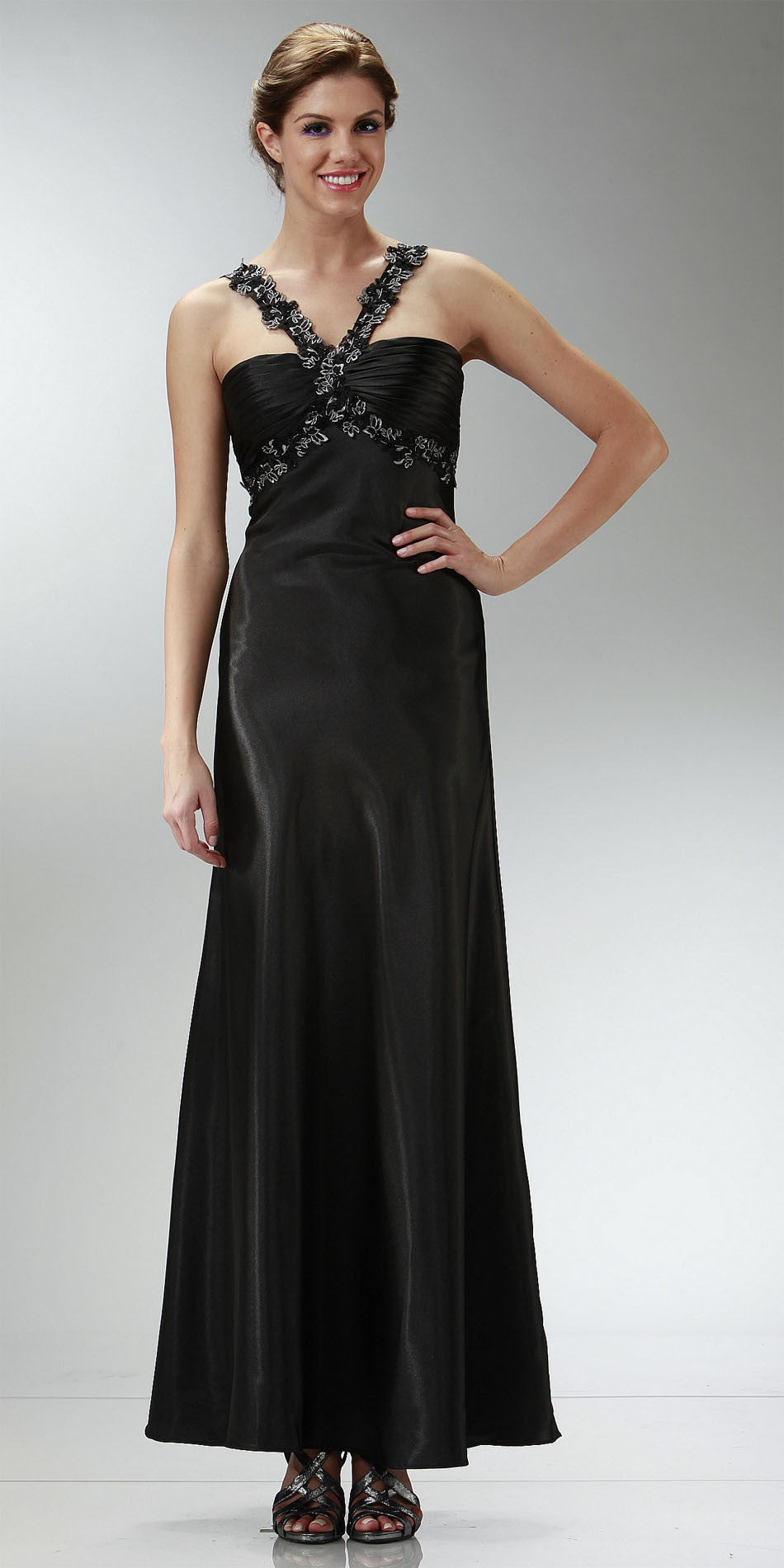 350ba0e92f4 ... ON SPECIAL LIMITED STOCK - Cheap Black Prom Dress Full Length Satin  Gown Applique Cross Straps ...