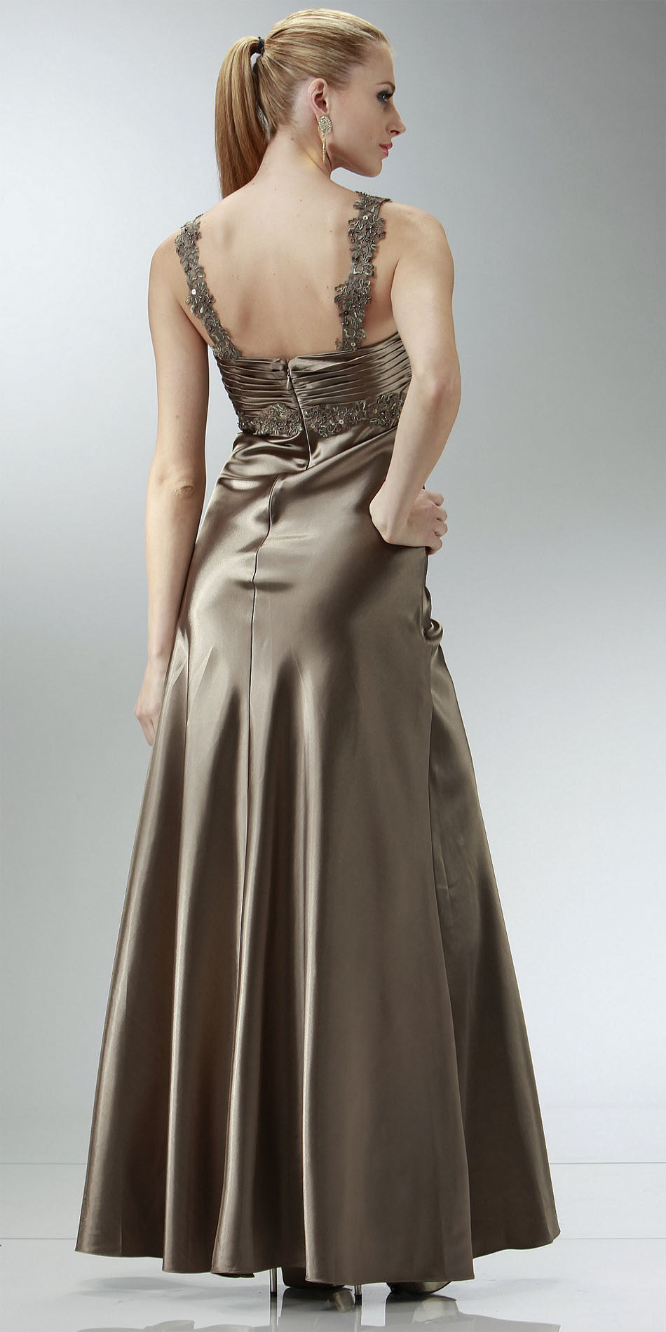 ON SPECIAL LIMITED STOCK - Cheap Mocha Prom Dress Full Length Satin Gown Applique Cross Straps