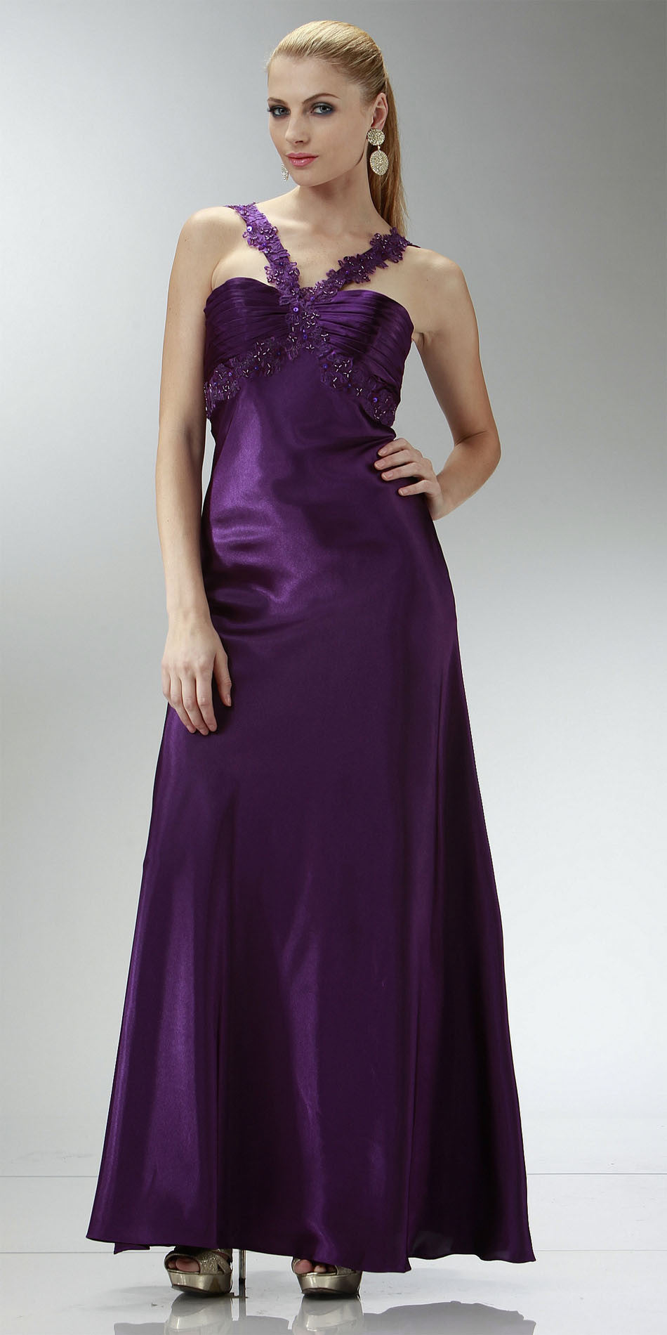 d2ce6029daf ON SPECIAL LIMITED STOCK - Cheap Purple Prom Dress Full Length Satin Gown  Applique Cross Straps