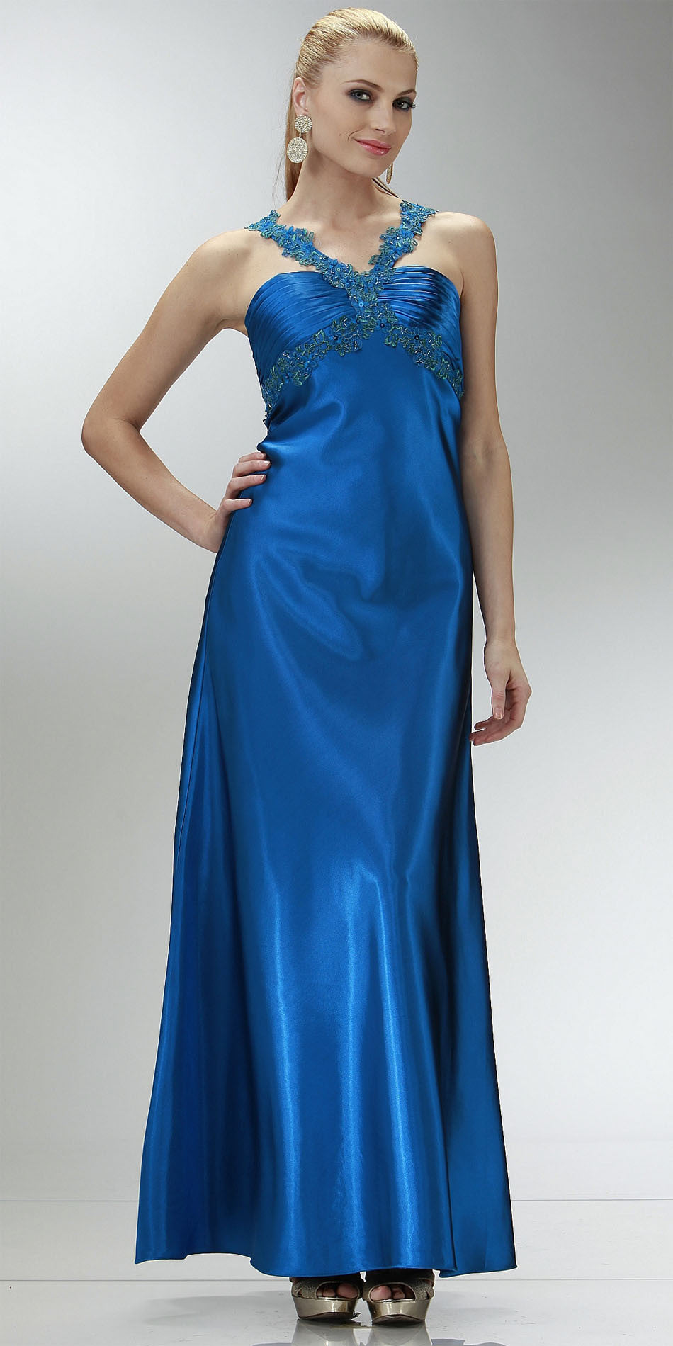 ON SPECIAL LIMITED STOCK - Cheap Sapphire Blue Prom Dress Full Length Satin Gown Applique Cross Straps